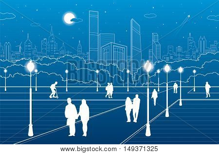 City scene, people walk on the square, city's skyline on background, street life, night town, vector design art