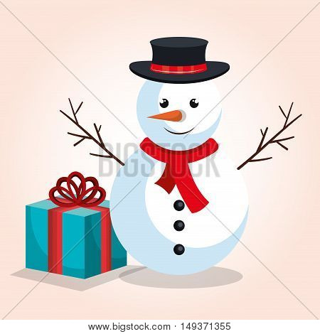 snowman and gift blue bow design isolated vector illustration