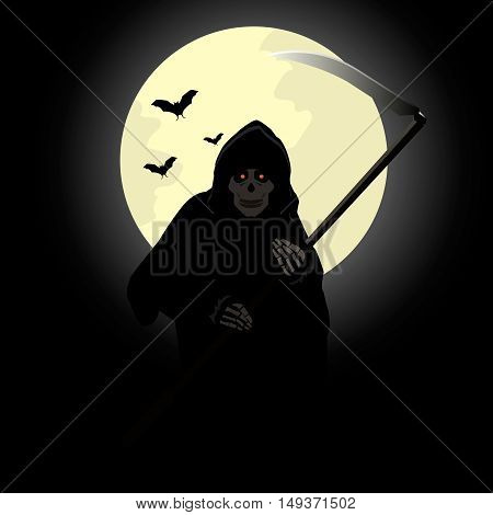 Stock vector death with a scythe on the background of the moon.
