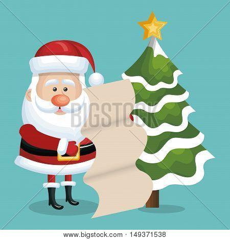 card xmas santa claus with list gift and tree snow. blue background vector illustration