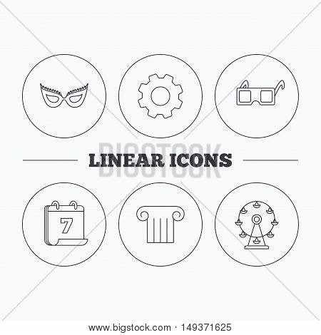 Mask, 3d glasses and column icons. Ferris wheel linear sign. Flat cogwheel and calendar symbols. Linear icons in circle buttons. Vector