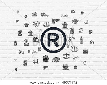 Law concept: Painted black Registered icon on White Brick wall background with  Hand Drawn Law Icons