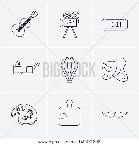 Puzzle, guitar music and theater masks icons. Ticket, video camera and 3d glasses linear signs. Entertainment, painting and mustache icons. Linear icons on white background. Vector