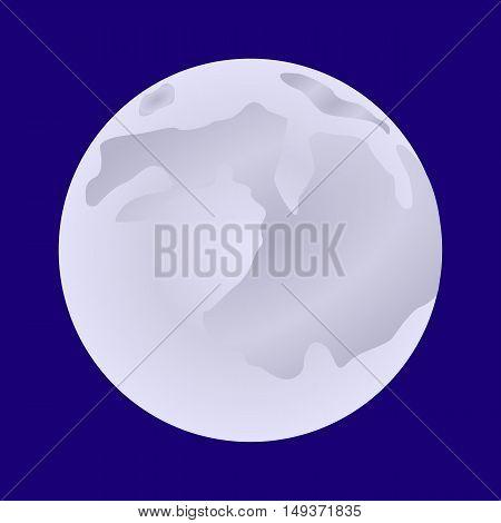 Bright Full Moon On Halloween, Flat Style