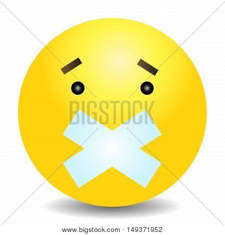 Vector Single Yellow Emoticon - Silent Face