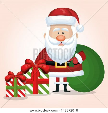 cute santa claus two gift and bag graphic isolated vector illustration