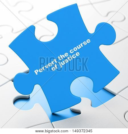 Law concept: Pervert the course Of Justice on Blue puzzle pieces background, 3D rendering