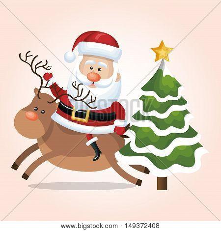 card santa claus riding reindeer and tree star snow design vector illustration
