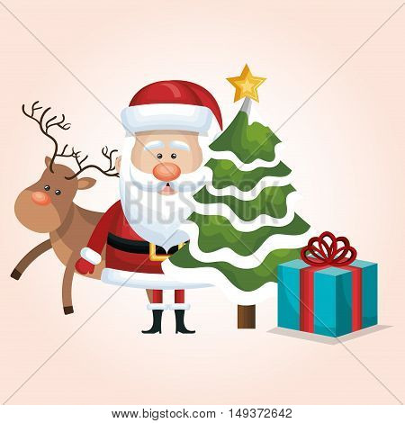 christmas santa claus reindeer tree and gift vector illustration