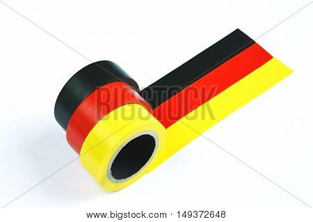 german flag with duct tape with white background