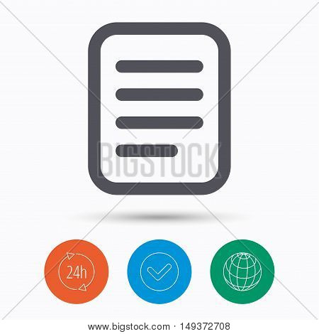 File icon. Text document page symbol. Check tick, 24 hours service and internet globe. Linear icons on white background. Vector