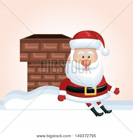 xmas santa claus chimney sit snow design isolated vector illustration