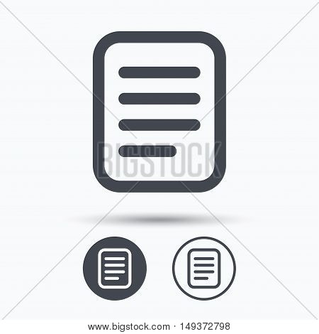 File icon. Text document page symbol. Circle buttons with flat web icon on white background. Vector