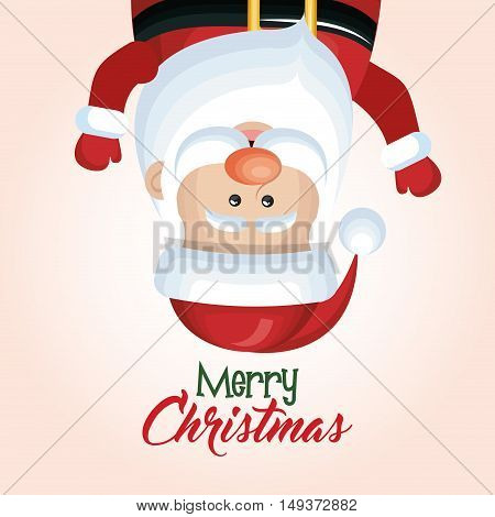 santa claus hanging merry christmas isolated vector illustration