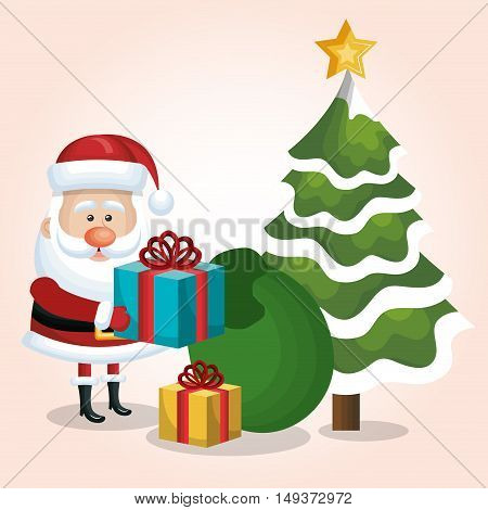 card santa claus gift and bag with tree snow star isolated vector illustration