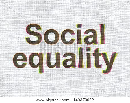 Political concept: CMYK Social Equality on linen fabric texture background