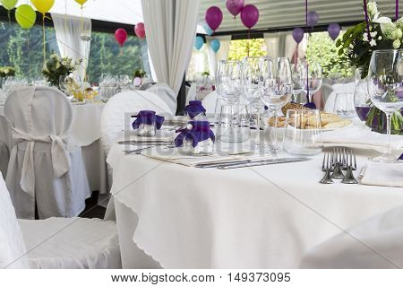 Restaurant With Tables Set For A Wedding Reception