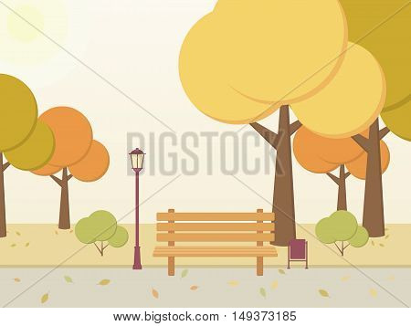 Autumn Park. Trees bushes leaves bench alley in the city square. Vector illustration.