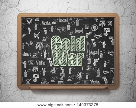 Politics concept: Chalk Green text Cold War on School board background with  Hand Drawn Politics Icons, 3D Rendering