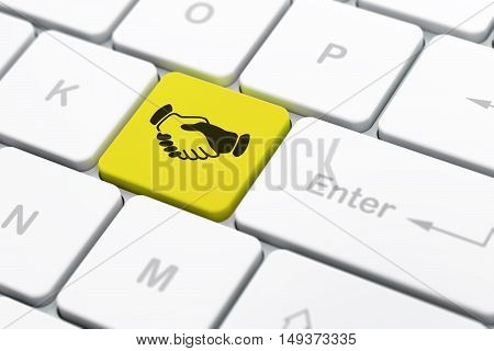 Politics concept: computer keyboard with Handshake icon on enter button background, selected focus, 3D rendering