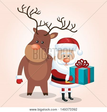 xmas card santa claus with gift and deer design graphic vector illustration