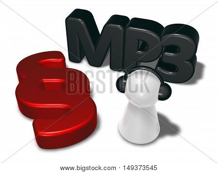 mp3 tag paragraph symbol and pawn with headphones - 3d rendering