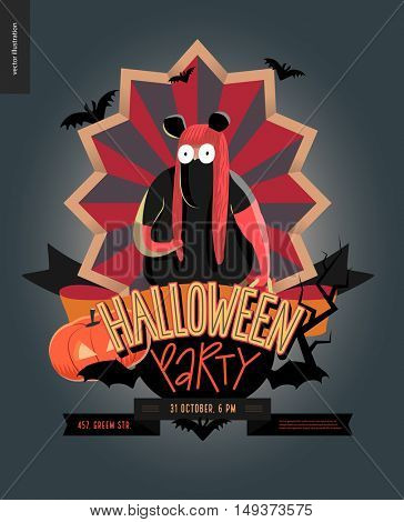 Halloween Party composed emblem invitation. Flat vectror cartoon illustrated design of a fat girl wearing mouse costume, on striped shield, bats, pumpkin jack-o-lantern, ribbon, lettering