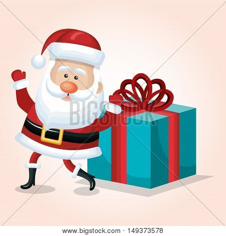 santa claus card happy and big gift design isolated vector illustration