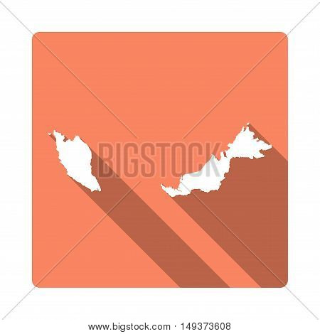 Vector Malaysia Map Button. Long Shadow Style Malaysia Map Square Icon Isolated On White Background.