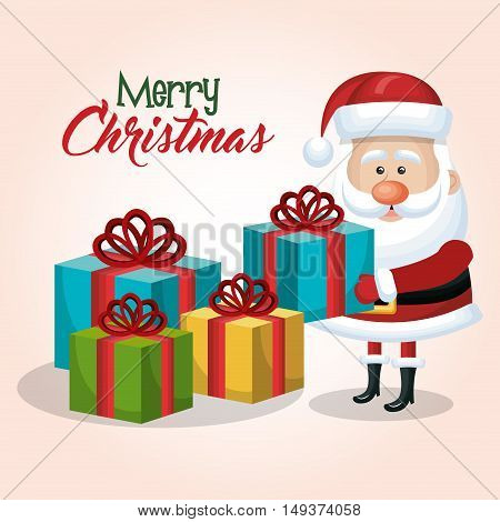 merry christmas santa claus with many gift graphic vector illustration