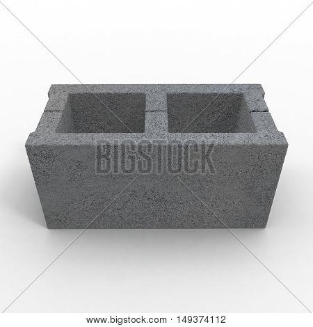 Single Gray Concrete Cinder Block Isolated on White Background. 3D illustration