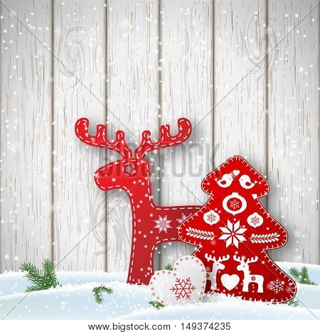 Christmas background, small scandinavian styled red and white decorations in front od white wooden wall, vector illustration, eps 10 with transparency