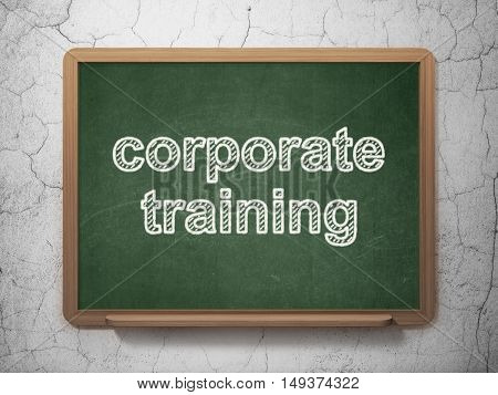 Learning concept: text Corporate Training on Green chalkboard on grunge wall background, 3D rendering