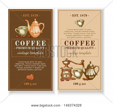 Coffee menu design template black coffee latte cappuccino packaging design for coffee