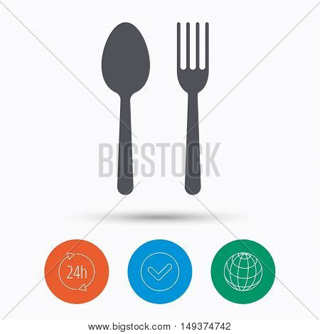 Food icons. Fork and spoon signs. Cutlery symbol. Check tick, 24 hours service and internet globe. Linear icons on white background. Vector