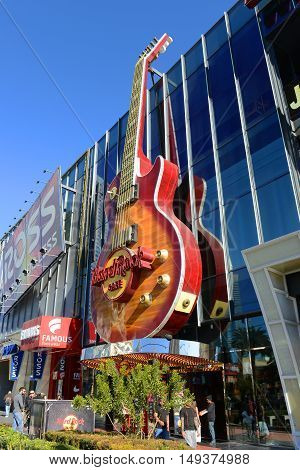 LAS VEGAS - DEC 24: Hard Rock Cafe in Showcase Mall on Las Vegas Strip on Dec 24, 2015 in Las Vegas, Nevada, USA.