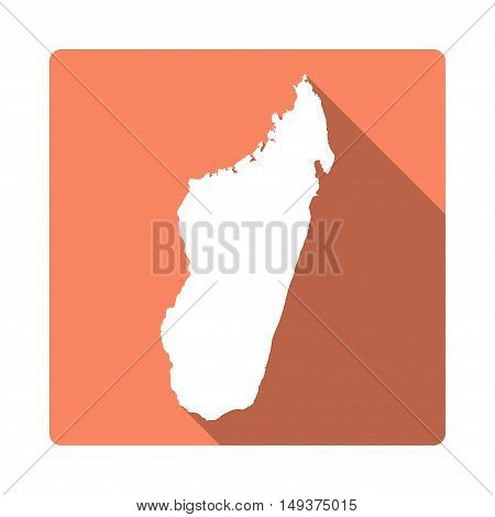 Vector Madagascar Map Button. Long Shadow Style Madagascar Map Square Icon Isolated On White Backgro