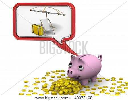 Money for the vacation. Pig piggy bank dreaming about vacation. Isolated. 3D Illustration