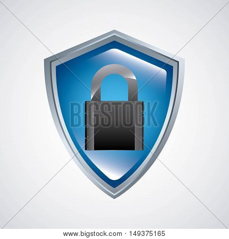 shield with padlock security icon vector illustration design