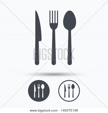 Fork, knife and spoon icons. Cutlery symbol. Circle buttons with flat web icon on white background. Vector