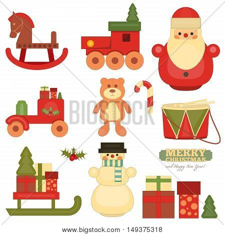Merry Christmas and Happy New Year Objects on White Background. Vintage Toys Collection. Vector Illustration.