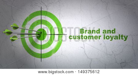 Success advertising concept: arrows hitting the center of target, Green Brand and Customer loyalty on wall background, 3D rendering