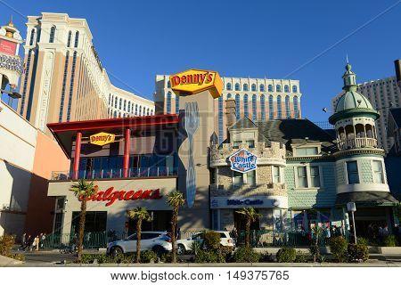 LAS VEGAS - DEC 24: Walgreens, Denny's and White Castle on Las Vegas Strip on Dec. 24, 2016 in Las Vegas, Nevada, USA.