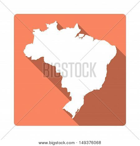 Vector Brazil Map Button. Long Shadow Style Brazil Map Square Icon Isolated On White Background. Fla