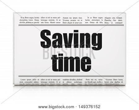Timeline concept: newspaper headline Saving Time on White background, 3D rendering