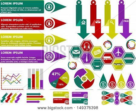 INFOGRAPHIC BUSINESS FLAT VECTOR SET,  FINANCE, TRANSPORTATION, ILLUSTRATION