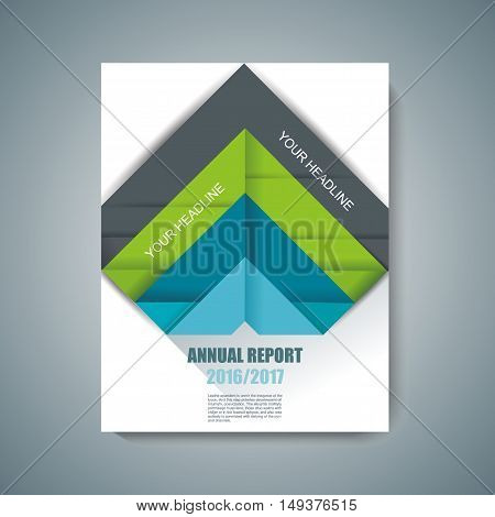 Vector design of Magazine Cover with folded paper tags.