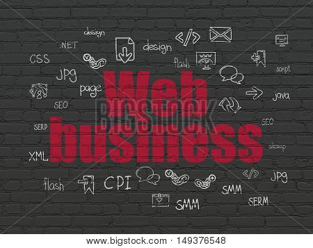 Web development concept: Painted red text Web Business on Black Brick wall background with  Hand Drawn Site Development Icons
