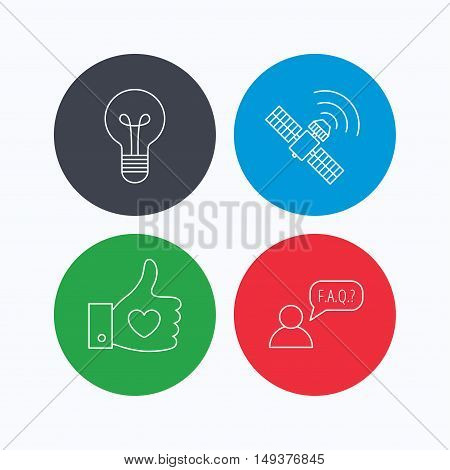 GPS, question and lightbulb icons. Thumb up, like linear sign.  Linear icons on colored buttons. Flat web symbols. Vector