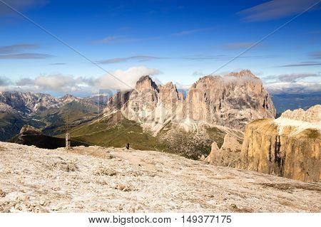 View to Punta Grohmann Cinquue Dita Sasso Lungo Piz Ciavaces from Sass Pordoi Dolomites Italia Europe